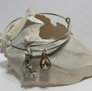 Mama and Baby Giraffe Adjustable Charm Bracelet